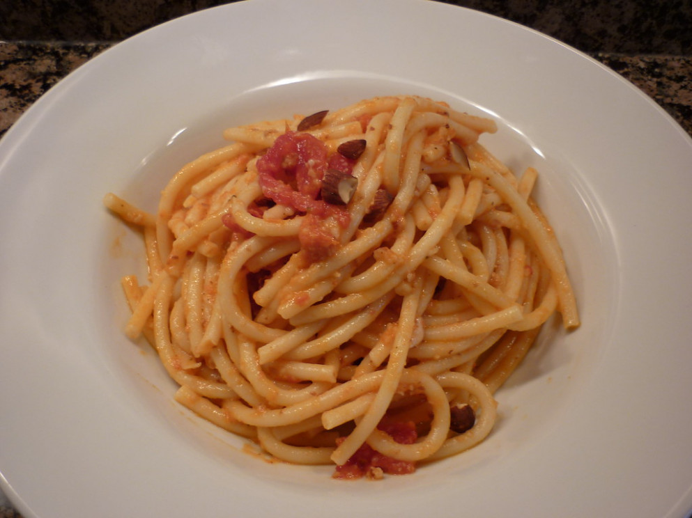 Perciatelli with Roasted Tomato and Almond Pesto - pasta recipes vegetarian