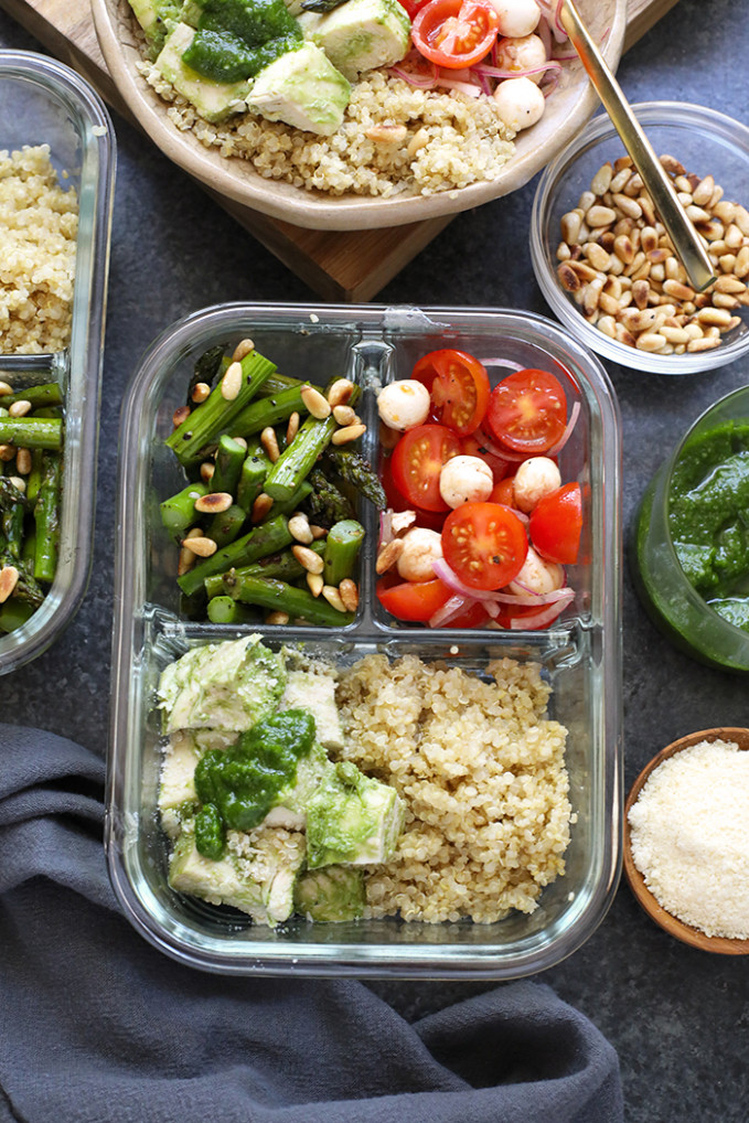 Pesto Chicken Meal Prep Recipe - Fit Foodie Finds - Chicken Recipes Lunch