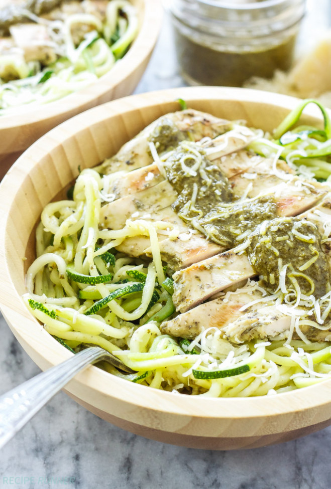 Pesto Chicken with Zucchini Noodles - Recipe Runner - healthy zucchini noodle recipes