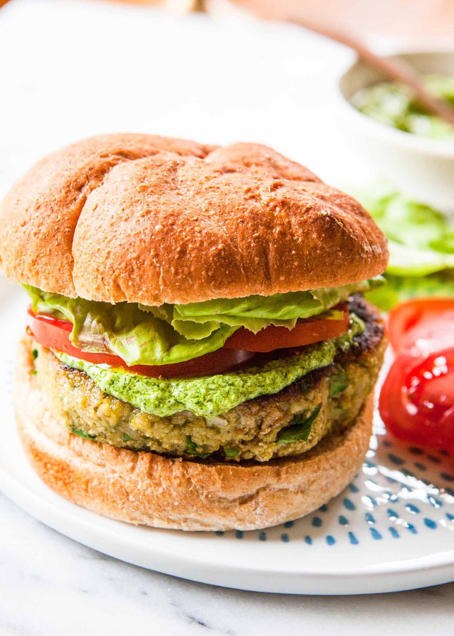 Pesto White Bean Veggie Burgers - recipe vegetarian hamburger