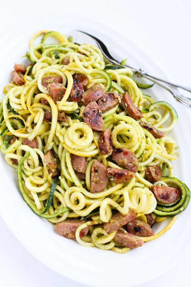 Pesto Zucchini Noodles Recipe with Chicken Sausage | FOOD ..