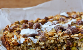 Pineapple Pistachio Baked Oatmeal with Dates & Coconut