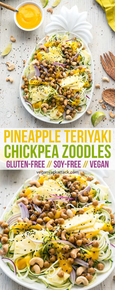 Pineapple Teriyaki Chickpea Zoodles - healthy recipes zoodles