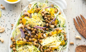 Pineapple Teriyaki Chickpea Zoodles – Healthy Zucchini Recipes Vegan
