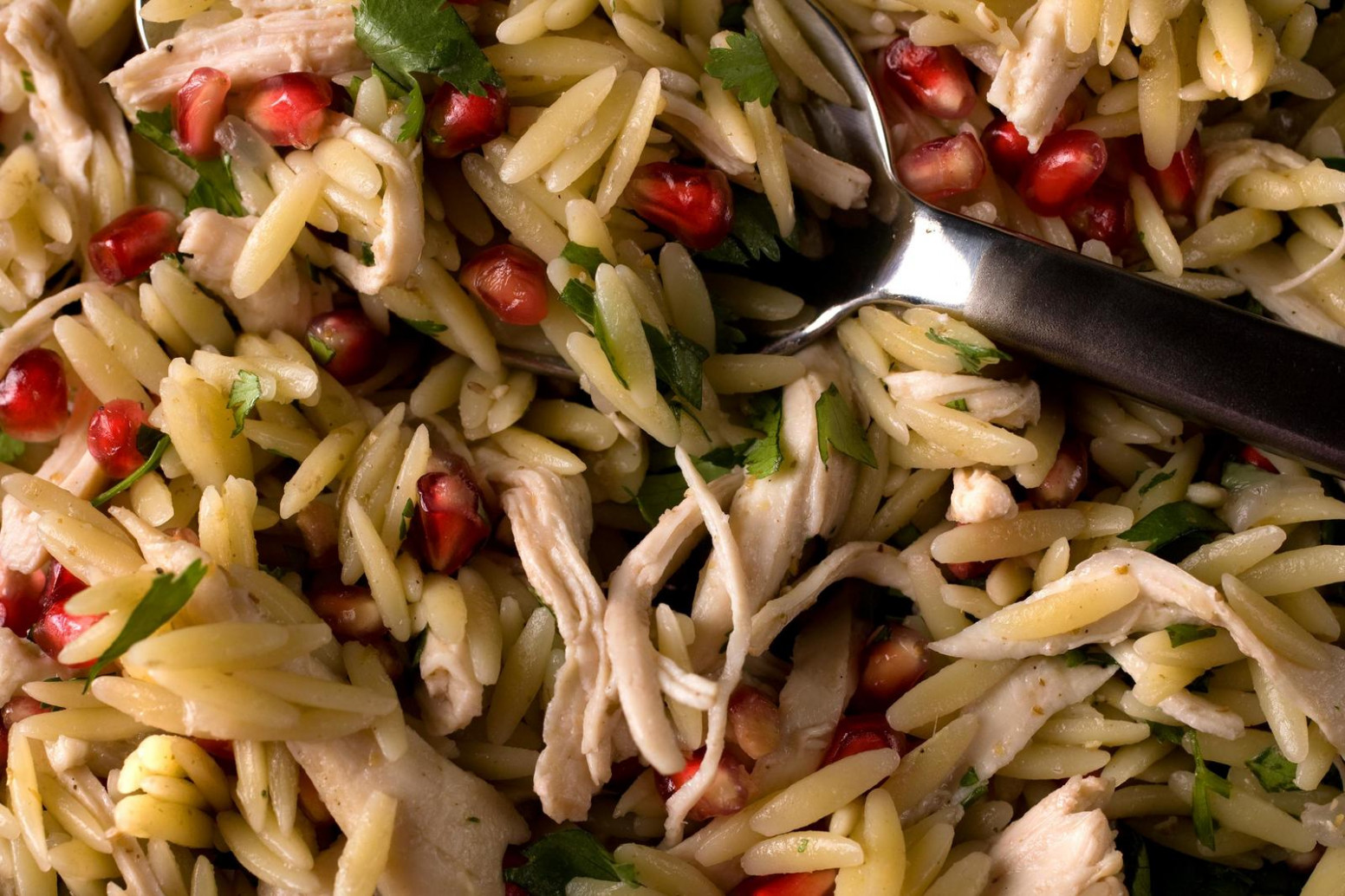 Poached Chicken And Pomegranate Orzo Recipe - CHOW