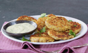 Polish Potato Pancakes with Chickpeas and Zingy Green Mayo