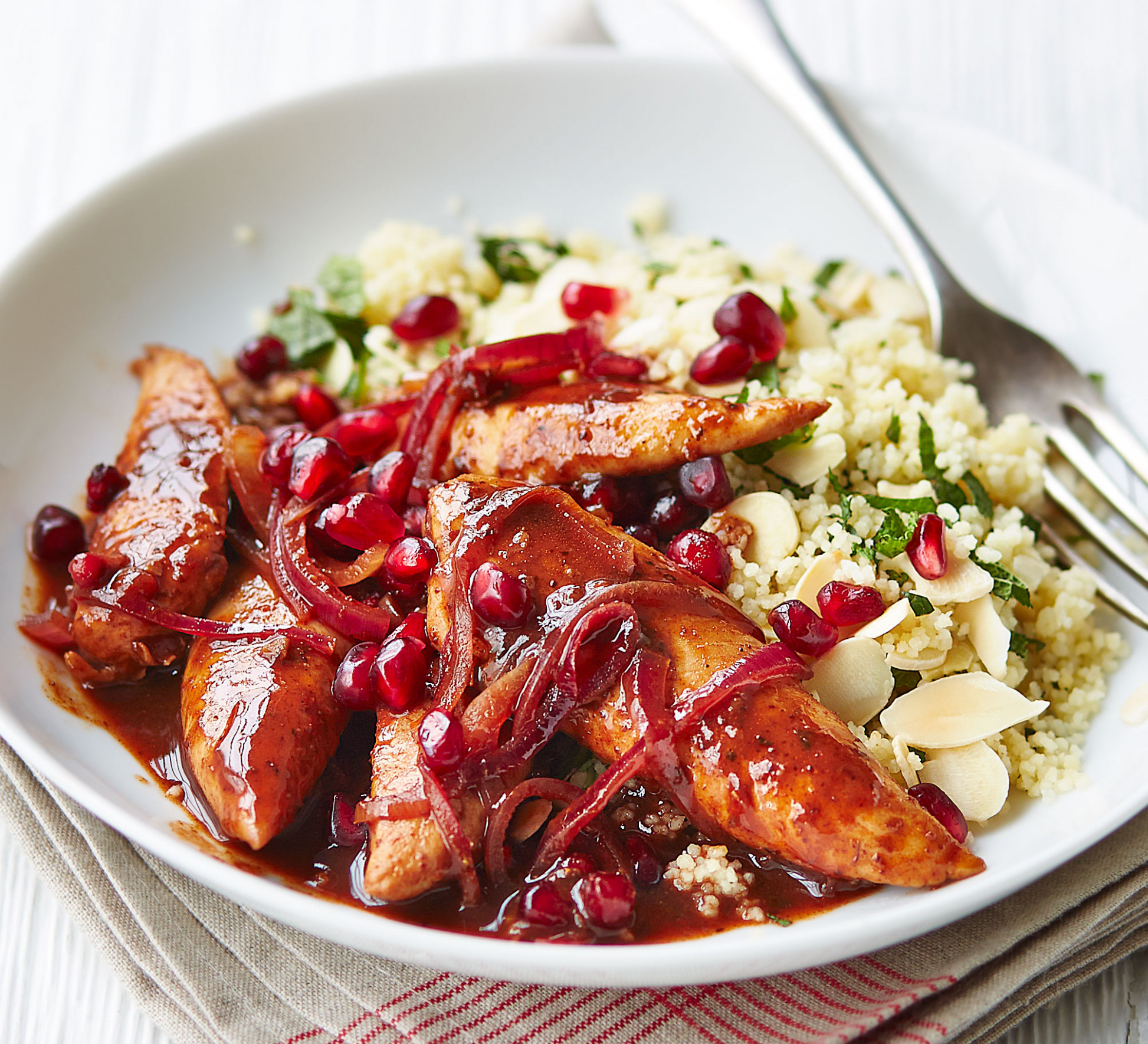 Pomegranate chicken with almond couscous - healthy recipes with chicken