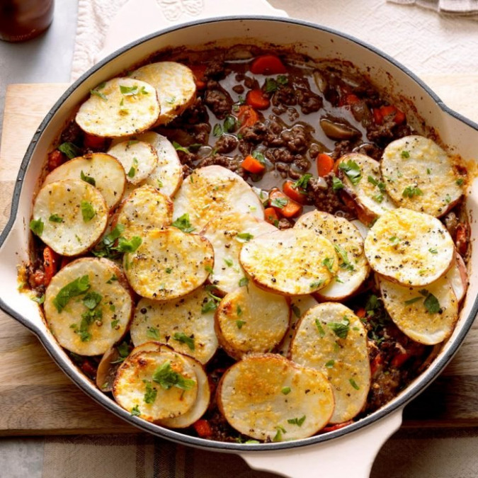 Potato-Topped Ground Beef Skillet Recipe | Taste of Home - healthy recipes with ground beef
