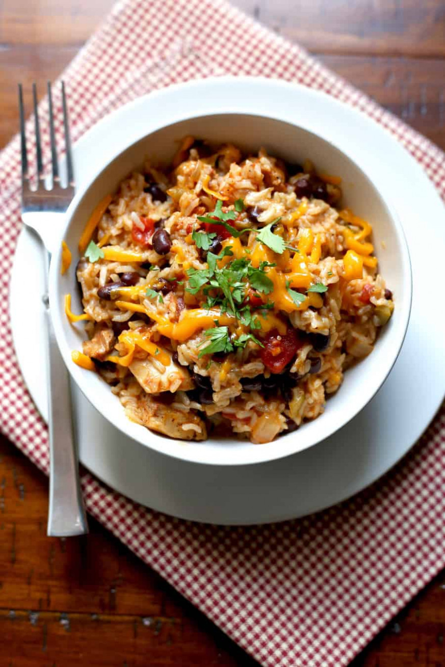 Pressure Cooker Chicken, Black Bean, and Rice Burrito Bowls - instant pot recipes chicken thighs