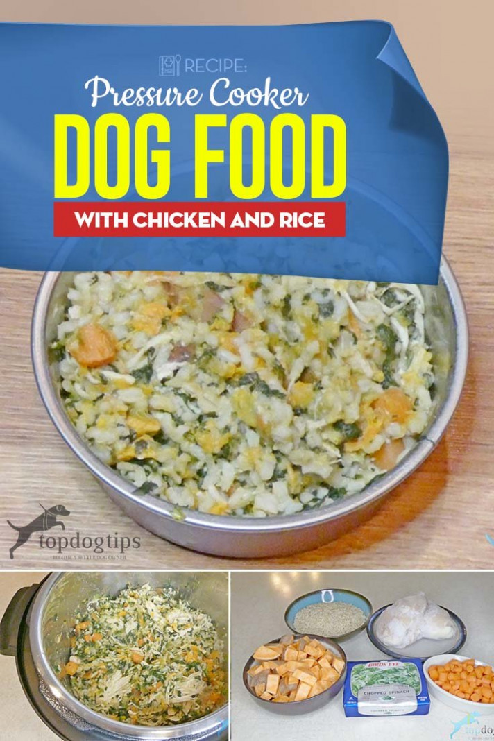 Pressure Cooker Homemade Dog Food with Chicken and Rice Recipe - dog food recipes with chicken
