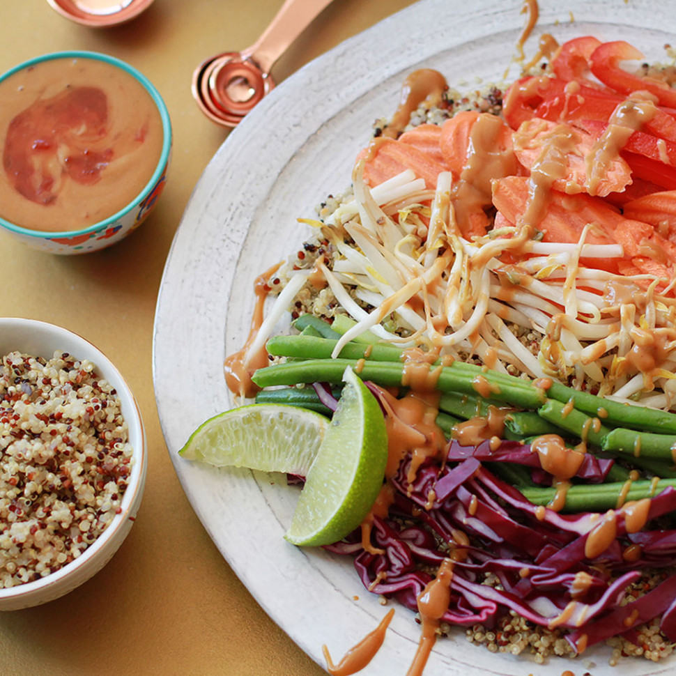 Protein-Packed Vegetable Quinoa Bowl with Spicy Peanut Sauce - vegetarian quinoa bowl recipes