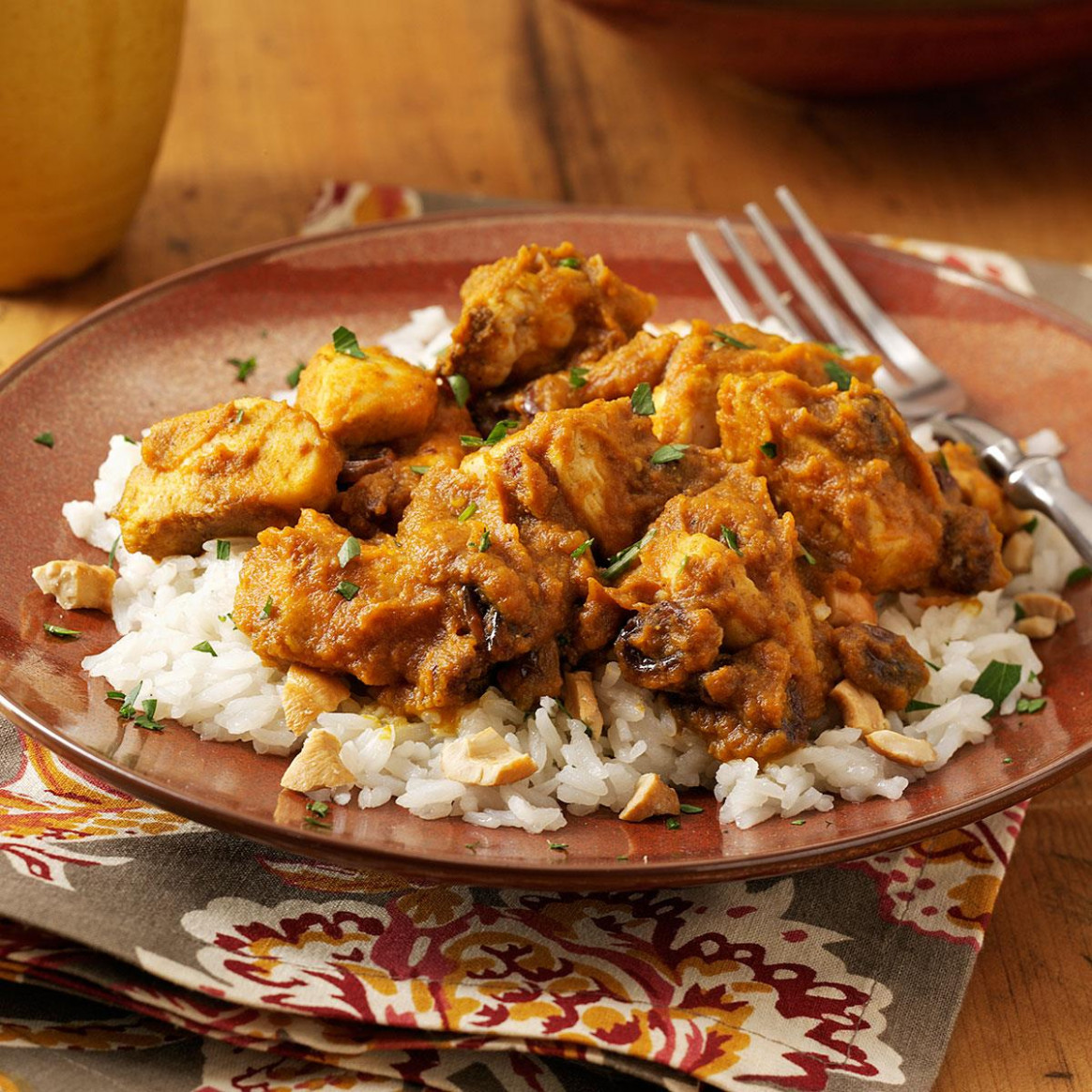 Pumpkin-Curry Chicken over Cashew Rice - recipes with chicken and rice