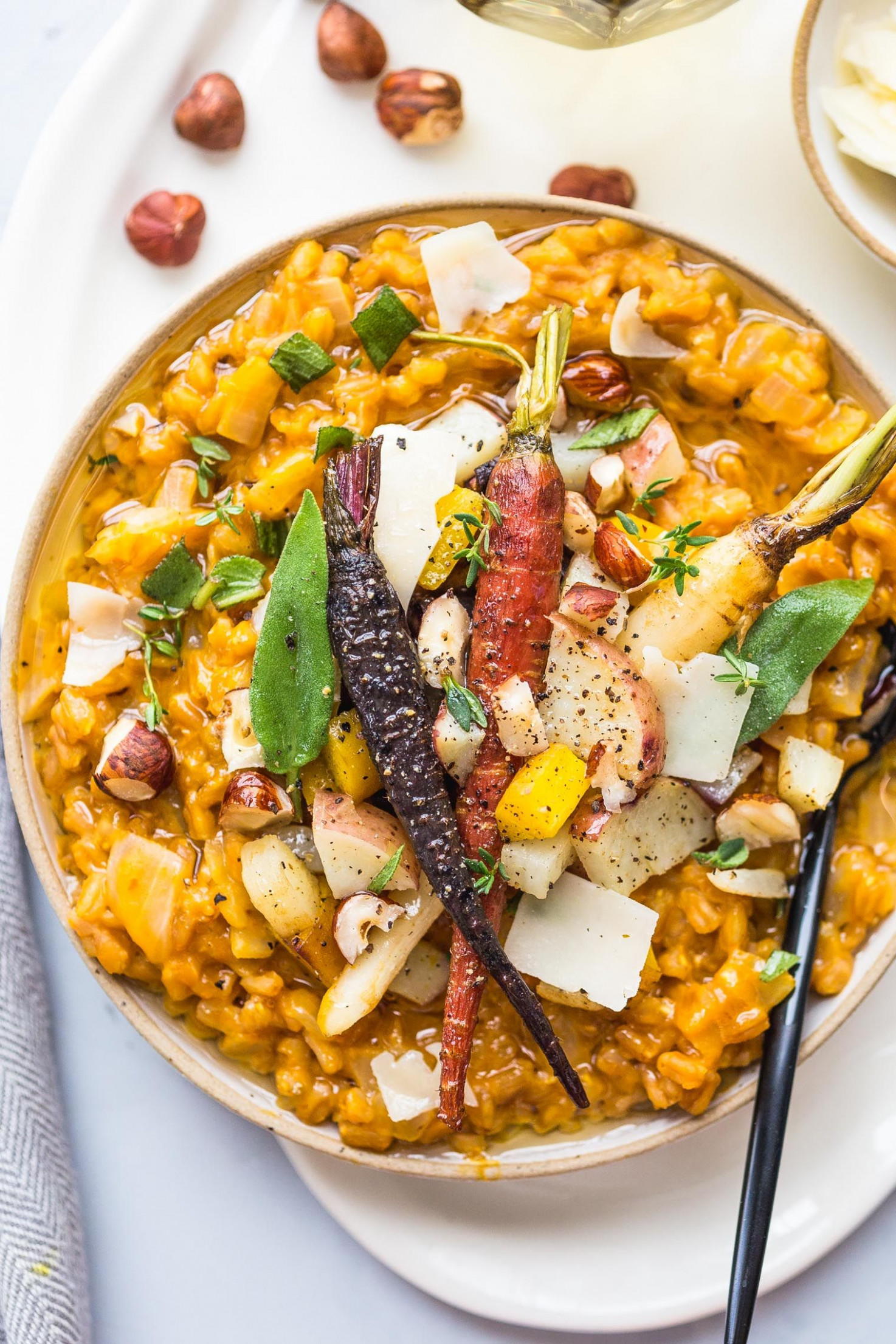 Pumpkin Farro Risotto with Roasted Winter Vegetables - winter recipes vegetarian