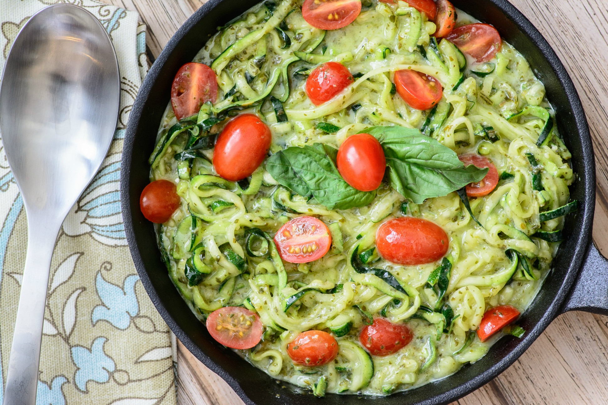 Quick & Easy Pesto Zoodles - Almost Supermom - healthy zoodle recipes with chicken