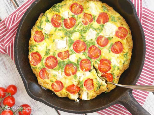Quick Frittata with Tomatoes and Cheese | The KetoDiet Blog - quick and easy keto dinner recipes