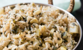 Quick Indian Brown Rice Pulau Recipe With Spinach, Corn, & Potatoes – Recipes For Indian Food