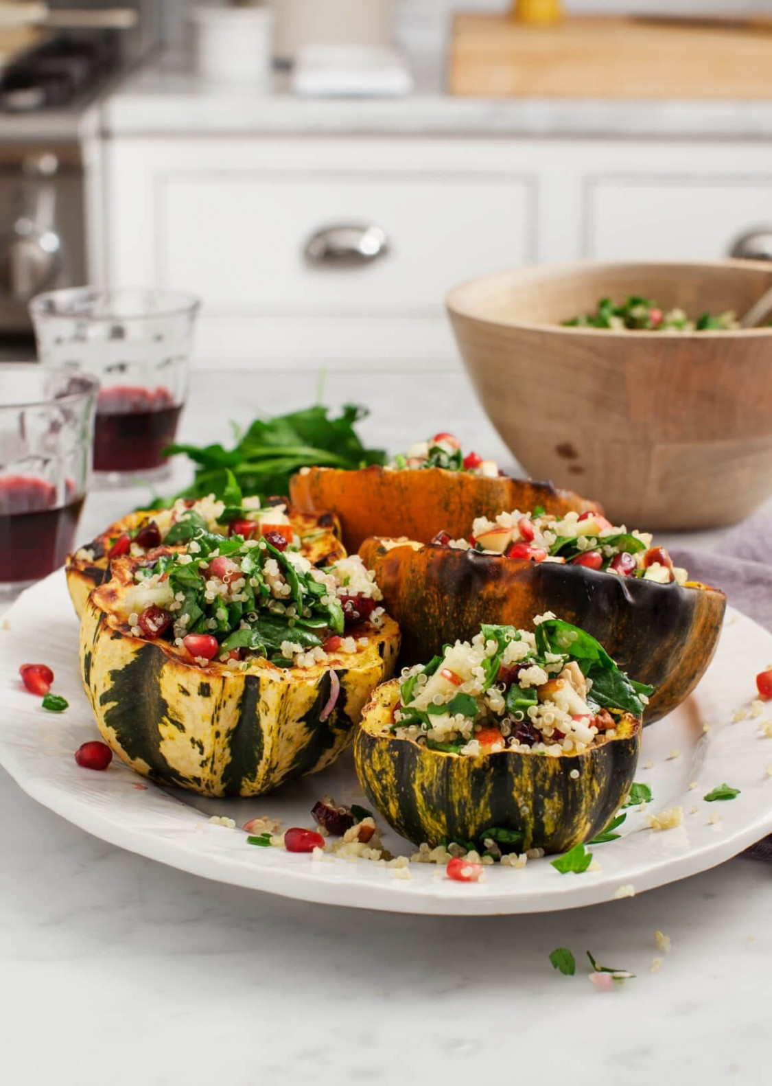 Quinoa Salad Stuffed Acorn Squash - Recipe Vegetarian Quinoa Stuffing