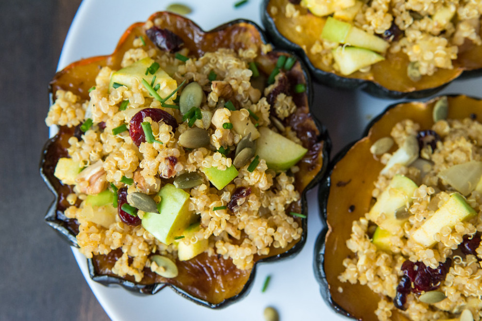 Quinoa Stuffed Acorn Squash Recipe And Video - Healthy Recipes Meals