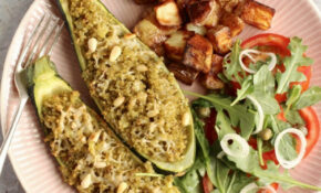 Quinoa Stuffed Courgettes With Pesto, Parmesan And Pine Nuts – Recipe Vegetarian Quinoa Stuffing