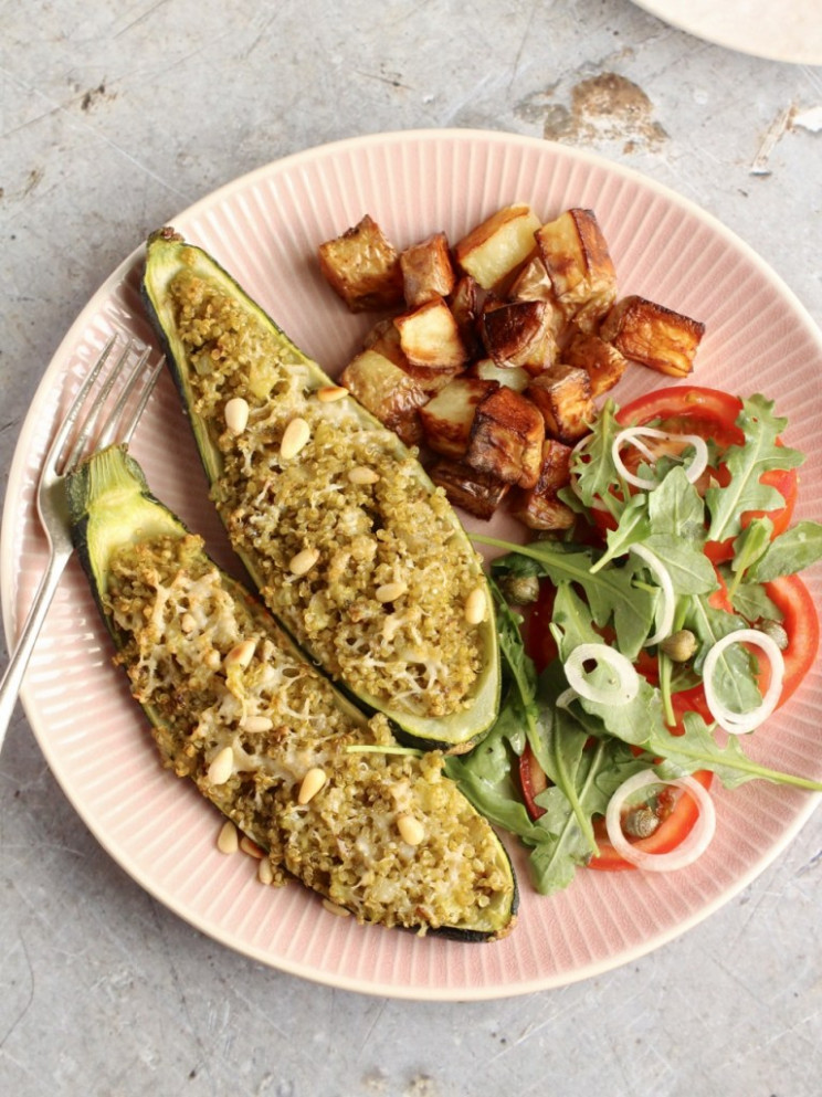 Quinoa Stuffed courgettes with Pesto, Parmesan and Pine Nuts - recipe vegetarian quinoa stuffing