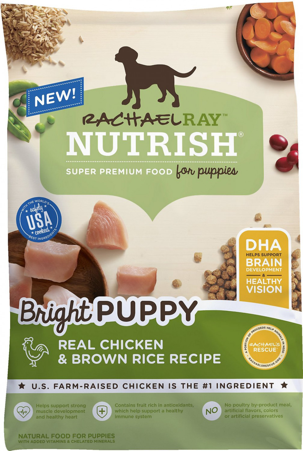 Rachael Ray Nutrish Bright Puppy Natural Real Chicken & Brown Rice Recipe  Dry Dog Food, 14-lb bag - puppy food recipes
