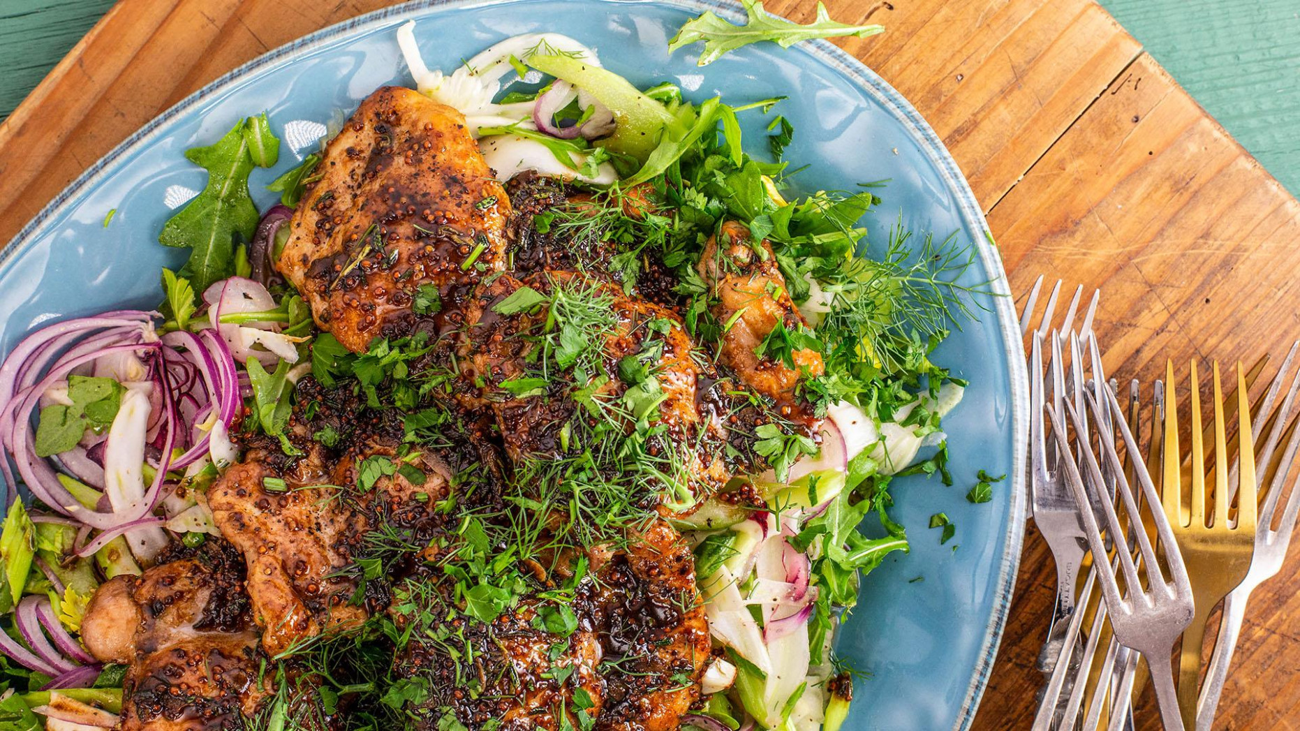 Rachael's Balsamic Glazed Chicken With Fennel & Celery Slaw - Recipes Rachael Ray Chicken
