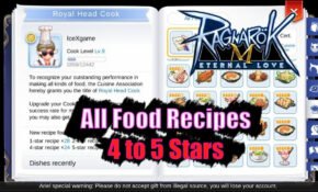 Ragnarok M Eternal Love All Food Recipes 115 to 15 Stars