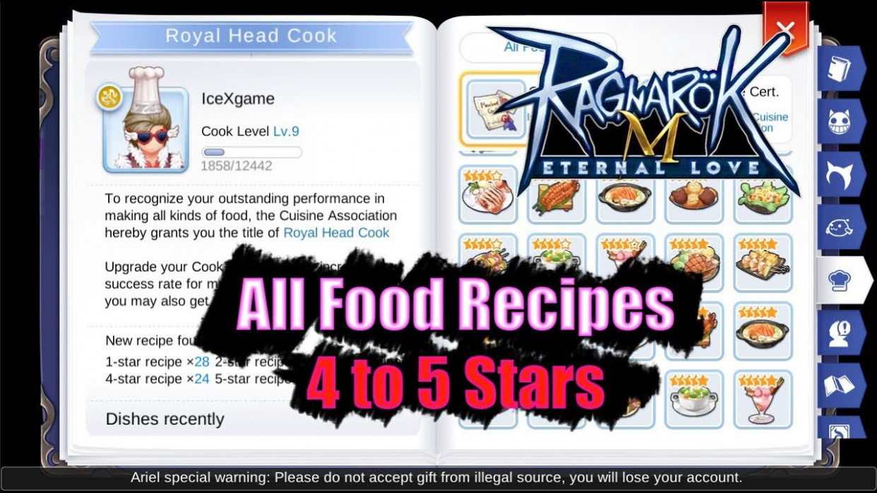 Ragnarok M Eternal Love All Food Recipes 115 to 15 Stars - food recipes ragnarok