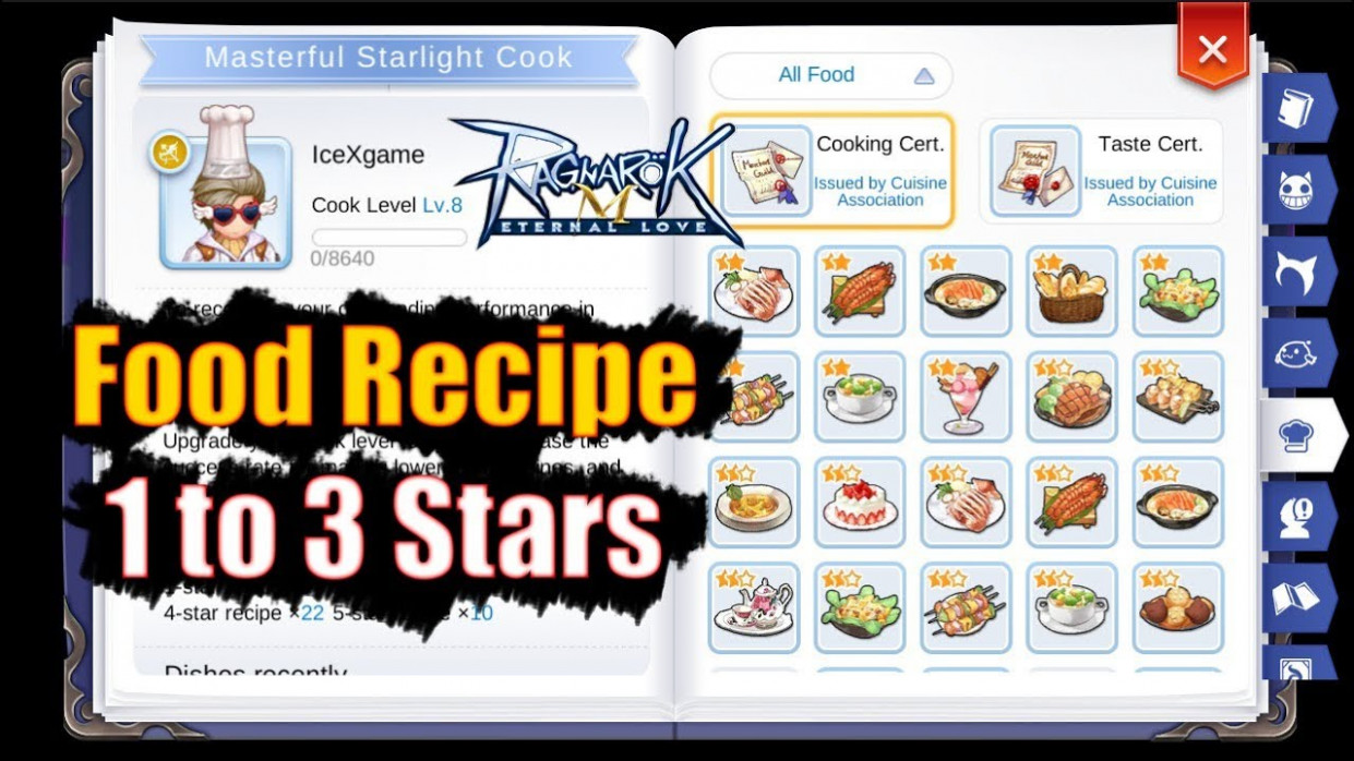 Ragnarok M: Eternal Love Food Recipe 15 to 15 Stars - food recipes ragnarok
