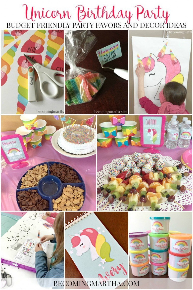 Rainbow and Unicorn Birthday Party Decor and Party Favors - unicorn party food recipes