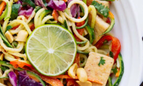 RAINBOW ASIAN ZUCCHINI NOODLE BOWL + CRISPY TOFU – Dinner Recipes With Zucchini Noodles
