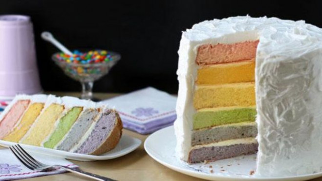 Rainbow Layer Cake with Natural Food Coloring recipe ..