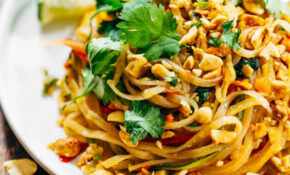 Rainbow Vegetarian Pad Thai With Peanuts And Basil – Healthy Noodle Recipes