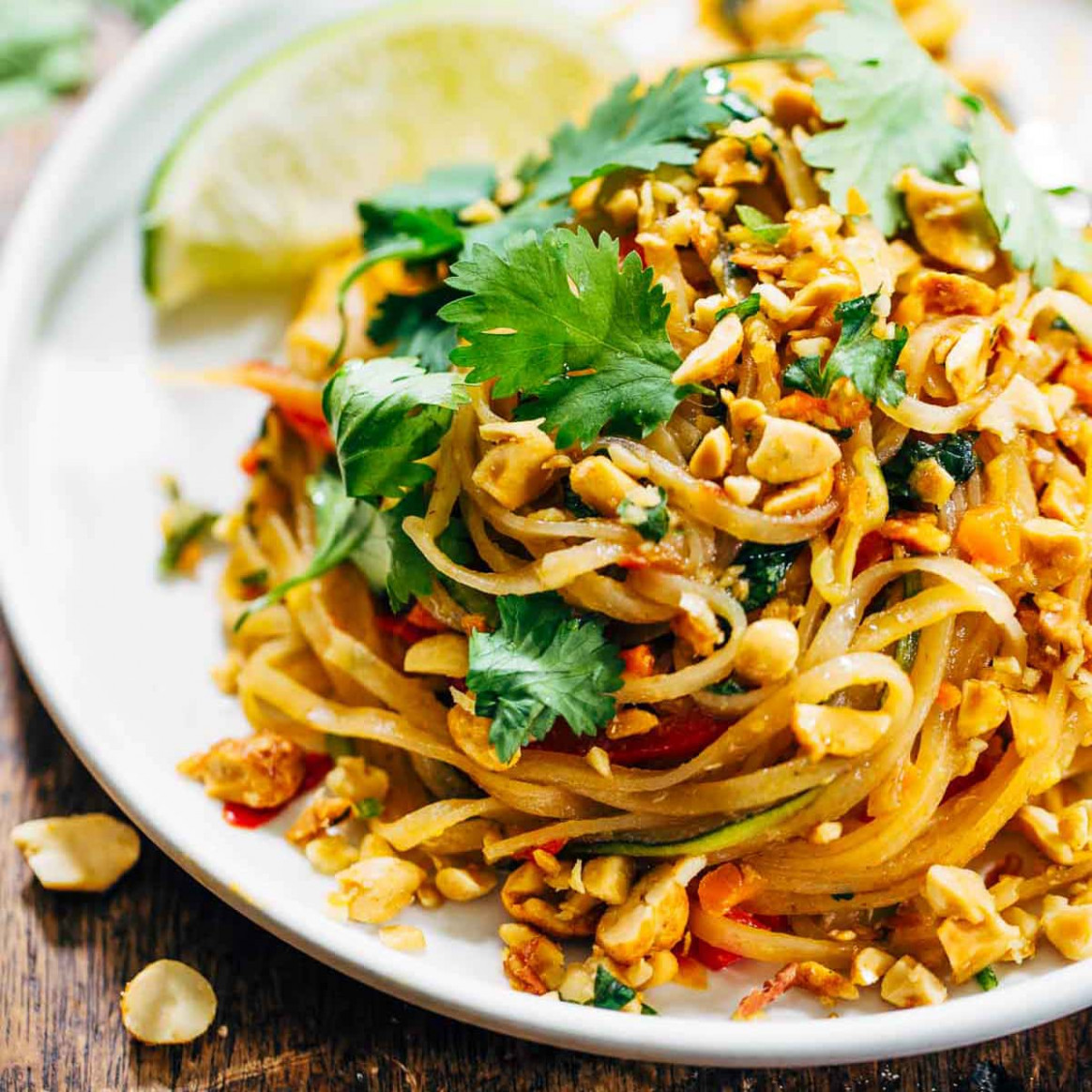 Rainbow Vegetarian Pad Thai with Peanuts and Basil - healthy noodle recipes
