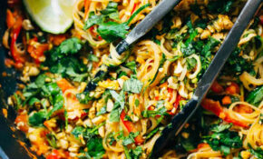 Rainbow Vegetarian Pad Thai With Peanuts And Basil – Pinch ..