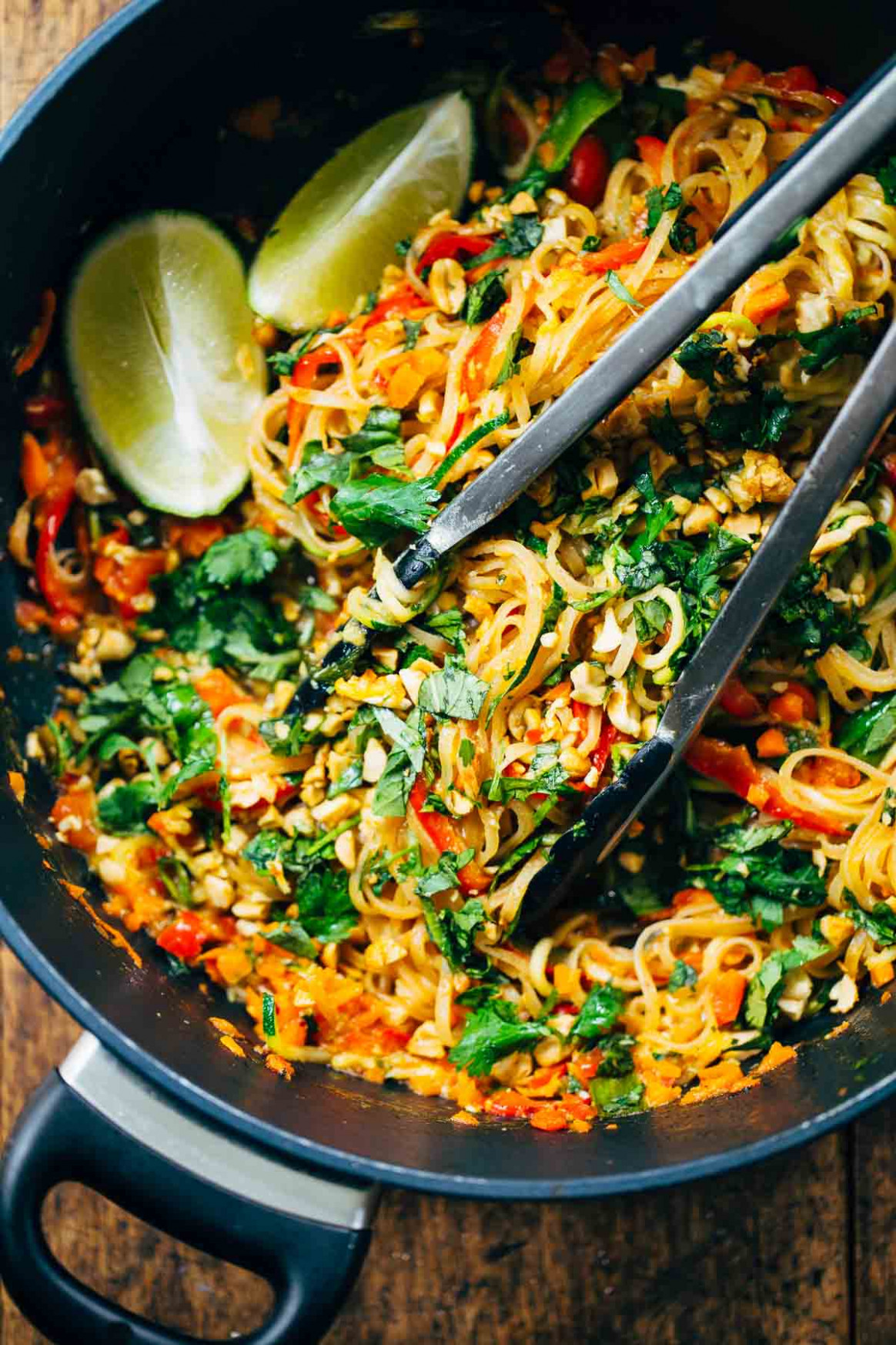 Rainbow Vegetarian Pad Thai with Peanuts and Basil - Pinch ..