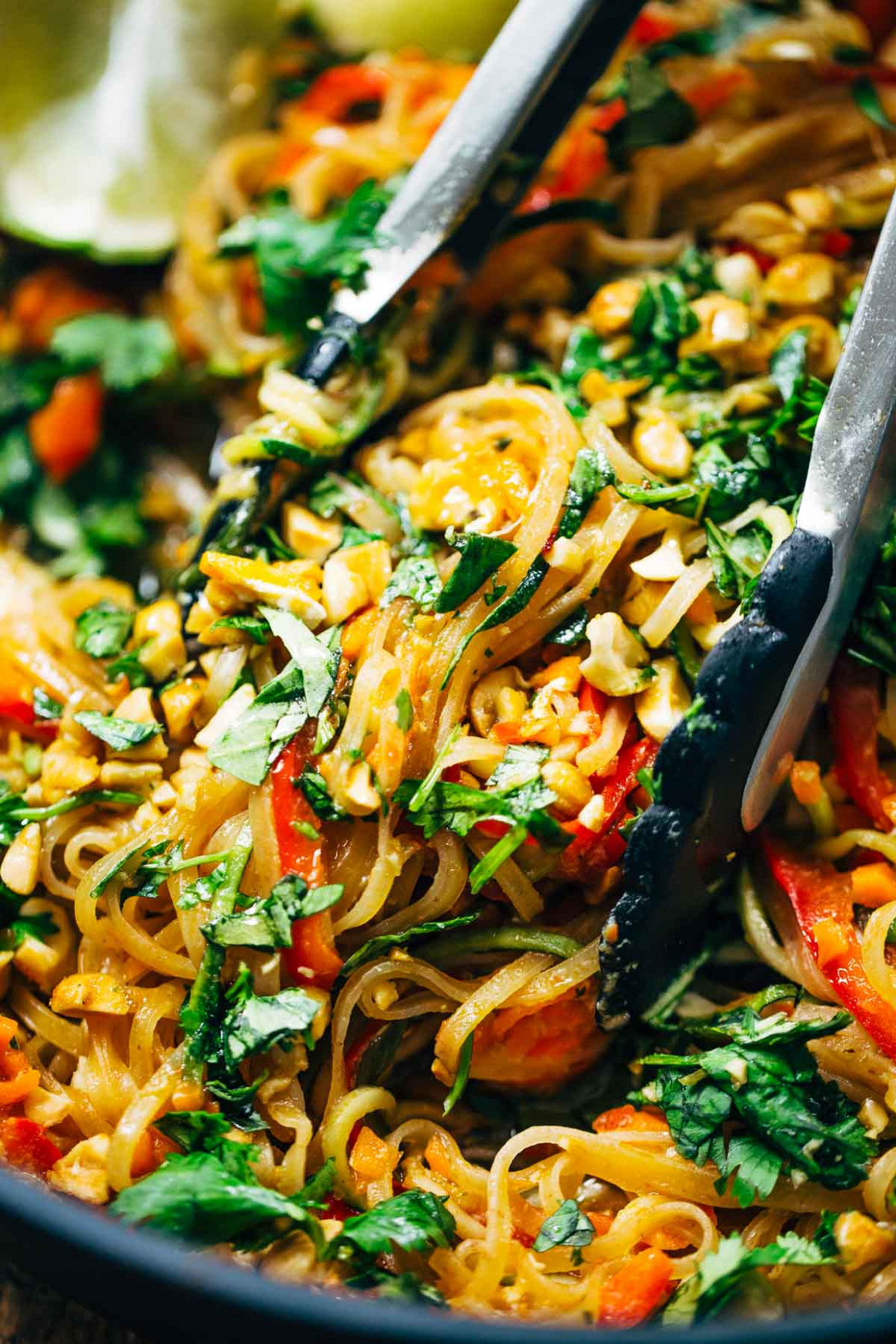 Rainbow Vegetarian Pad Thai with Peanuts and Basil Recipe ..