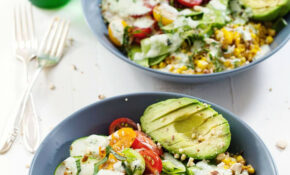 Rainbow Veggie Bowls With Jalapeño Ranch Recipe – Pinch Of Yum – Grain Bowl Recipes Vegetarian