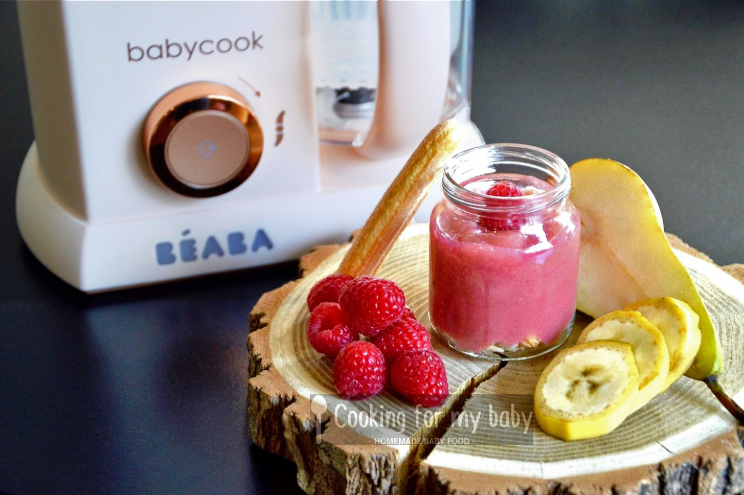 Raspberry, pear and banana on boudoir biscuits baby puree recipe (from 13  months) - recipes baby food 9 months