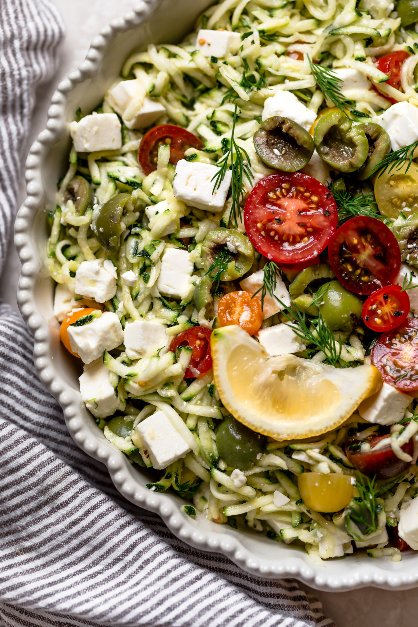 Raw Grated Zucchini Salad Recipe With Feta (13 Ingredients!) - Dinner Recipes Zucchini