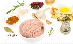 Raw Ground Chicken, Herbs And Spices For Cutlets Stock Photo ..