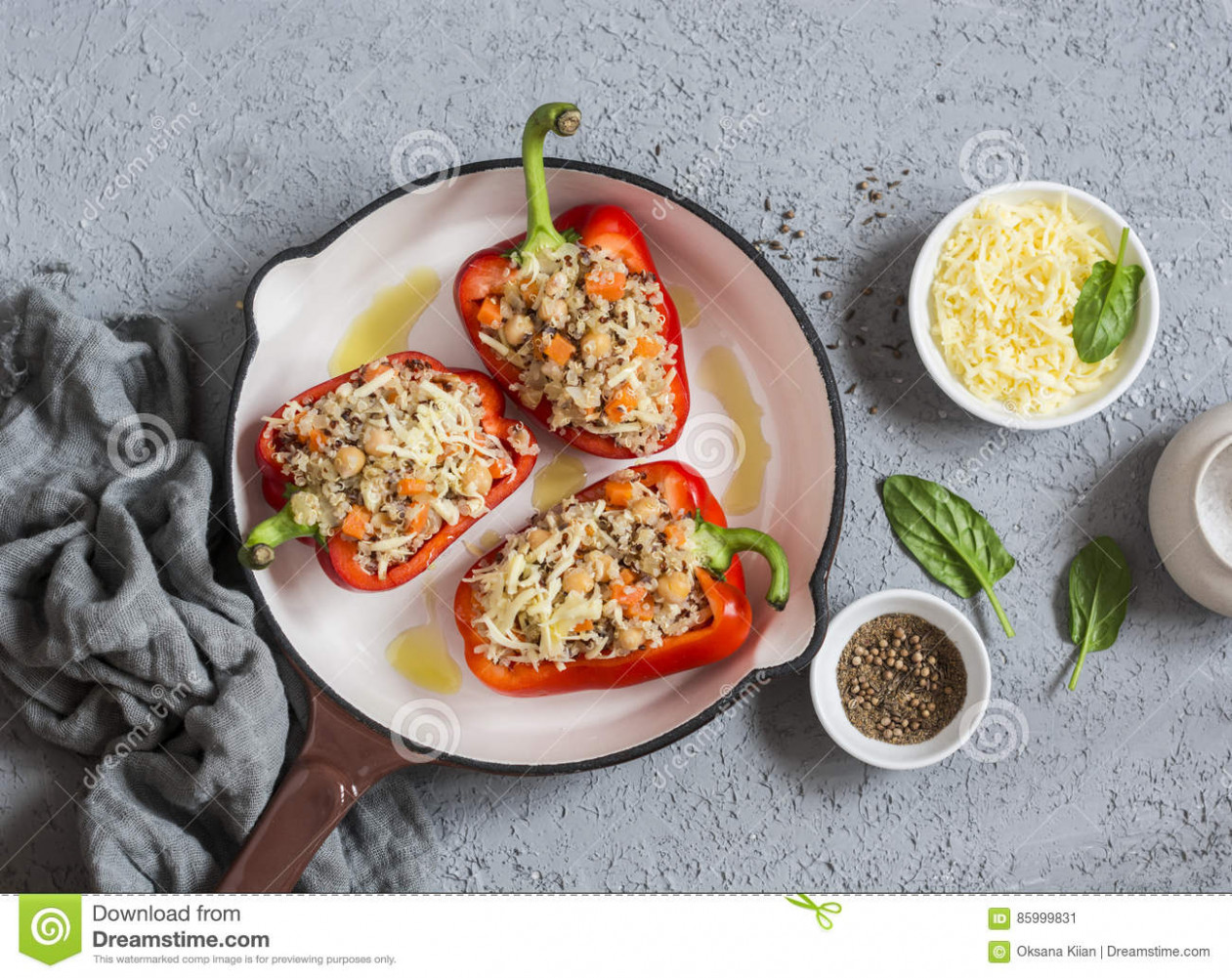 Raw Quinoa Stuffed Sweet Peppers In A Cast Iron Skillet. Top ..