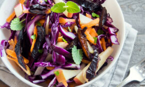 Red Cabbage Coleslaw Salad With Carrots, Apples And Prunes  .