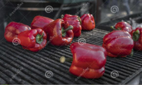 Red Sweet Peppers Cooking On The Grill. Healthy Vegetarian ..