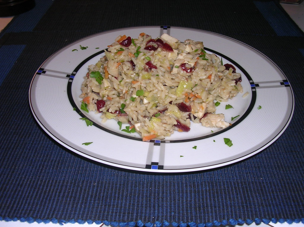 Rice Bowl with Chicken, Leeks and Dried Cranberries - no carb recipes dinner