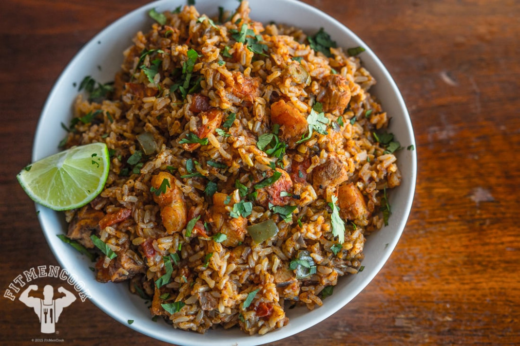 Rice Cooker Spanish Rice with Chicken & Shrimp - Fit Men Cook - rice cooker recipes chicken