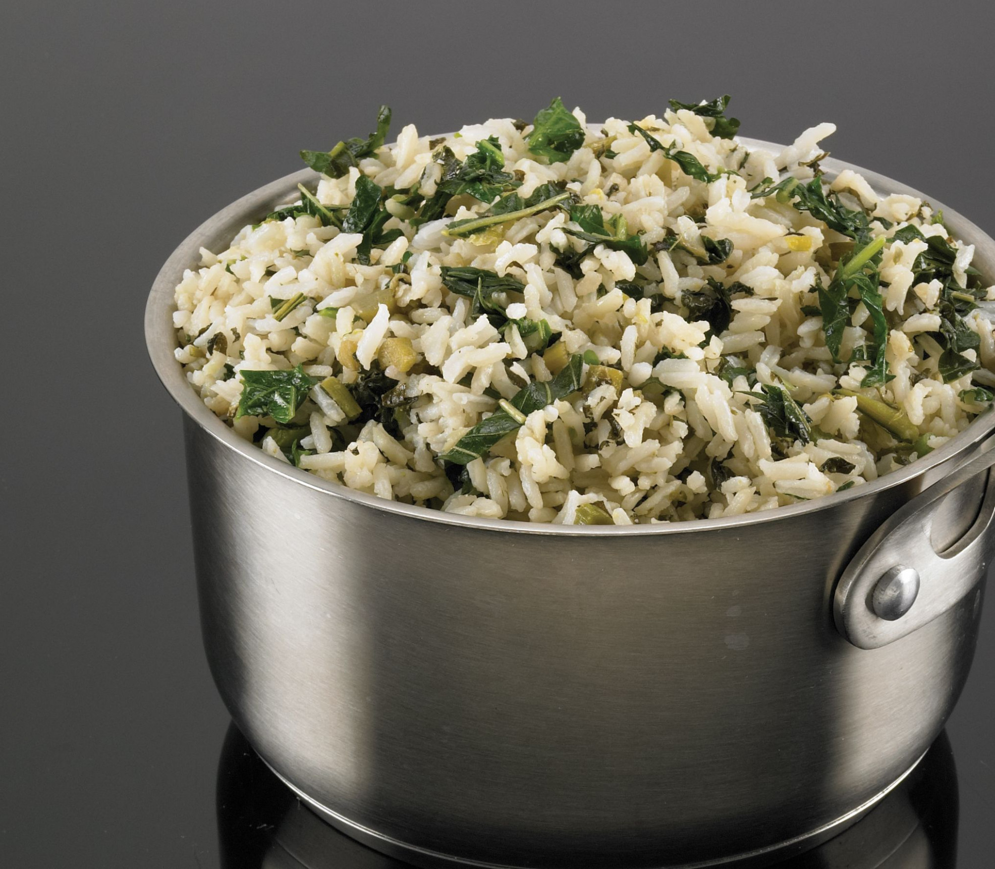 Rice steamed with callaloo and seasoned coconut milk ..