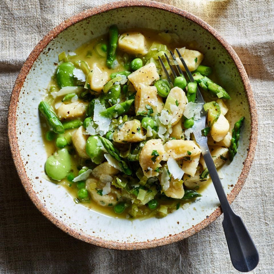 Ricotta Gnocchi with Spring Vegetables Recipe - EatingWell - food recipes vegetables