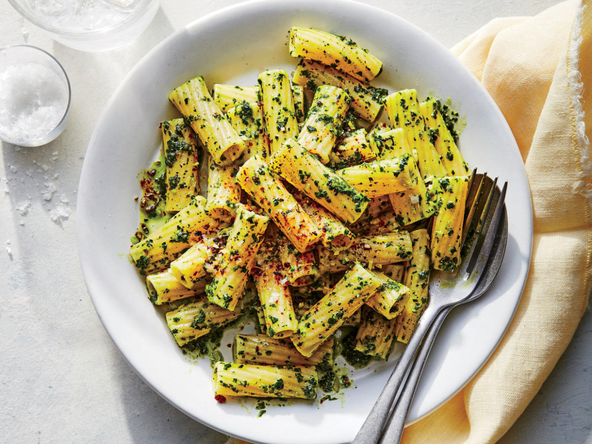 Rigatoni with Kale Pesto Recipe - Cooking Light - recipes of vegetarian dishes