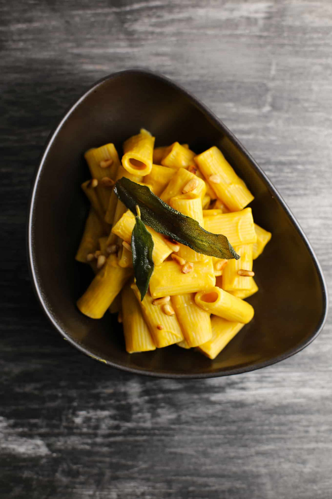 Rigatoni With Vegan Butternut Sage Cream Sauce And Toasted Pine Nuts - Nut Recipes Vegetarian